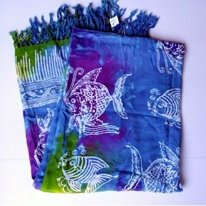 Huge Fish Dyed Beach Cover Scarf